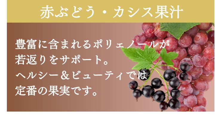 赤ぶどう・カシス果汁 豊富に含まれるポリフェノールが若返りをサポート ヘルシー&ビューティでは定番の果実です